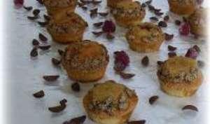 Muffins lait de coco et pétales au cacao au coeur
