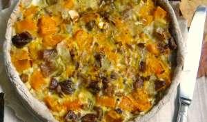 Quiche d'automne au butternut, châtaignes, endives et chèvre, pâte brisée au sarrasin