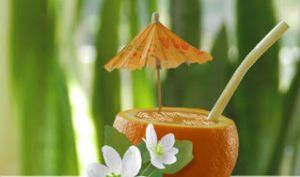 Boisson fraîche aux oranges, glace à la vanille