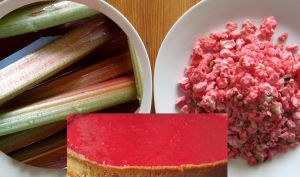 Tarte à la rhubarbe et aux pralines rouges de Saint-Genix