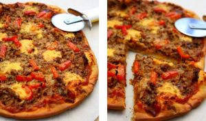 Pizza au boeuf haché, poivron et cheddar