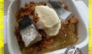 Compote d'aubergine à la cardamome en crumble sardines marinées
