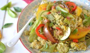 Salade de semoule aux légumes d'été, sésame et menthe
