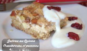 gateau au quinoa, pommes, cranberries et cannelle