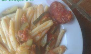 Casarecce aux courgettes et saucisson piquant (chorizo)