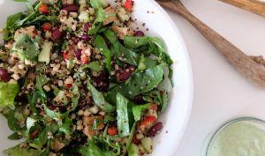 Salade au quinoa, maïs, haricots rouges et tempeh