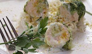 Rouleaux de chou au saumon sauvage et crème de poutargue