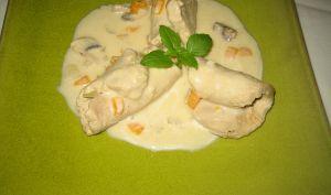 Roulé de filet mignon de porc aux champignons en blanquette
