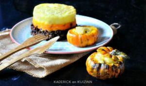 Courge en hachis parmentier au potimarron et carotte