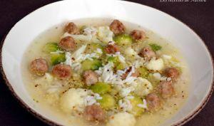 Bouillon aux 2 choux, boulettes au parmesan, riz et moutarde à l'ancienne