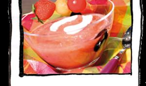 Gaspacho tomate et fraise, Fillet de rouget, Mousse cerise