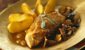 Filet de poulet aux pommes caramélisées et champignons