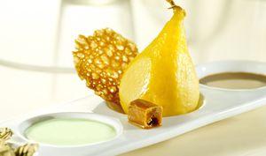 Déclinaison poire, caramel et pistache