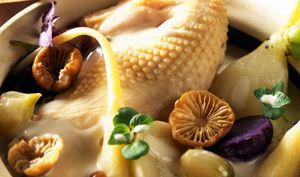 Suprême de poularde cuit au pot sa mêlée de légumes et racines en velouté crémeux aux mousserons