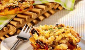 Tartelettes-crumbles aux tomates sechées et aux champignons