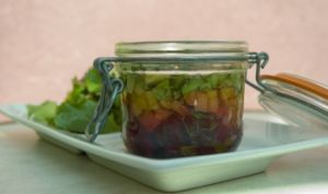 Verrine de betteraves, avocats et mangue