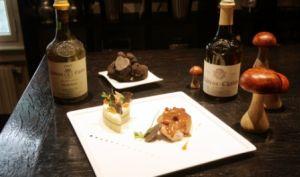Pomme de ris de veau clouté de Morteau, chartreuse aux salsifis et truffes noires