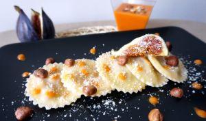 Raviolis frais aux figues, poivrons et noisettes