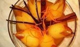 Poires pochées au Sauterne - Etape 8