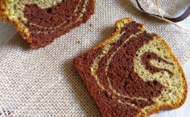 Cake marbré chocolat pistache