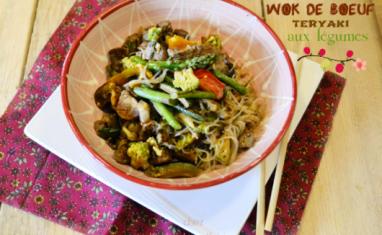 Wok sauté boeuf teriyaki aux légumes et nouille de riz