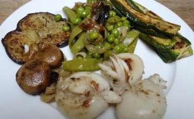 Seiches et légumes à la plancha