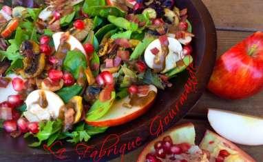 Salade d'automne pomme champignons bacon grenade