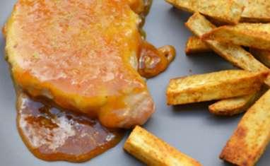Côte de porc à la marmelade d'orange moutarde et romarin