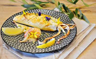 Plancha calamar farci de ricotta, chorizo et crevettes