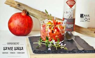 Sauce salsa grenade, tomates et cornichons