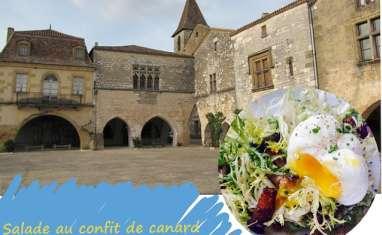 Salade au confit de canard, légumes du marché