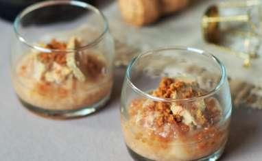Verrines de foie gras et compotée de poires
