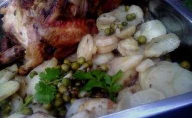Poulet au four, moutarde, herbes de Provence et coriandre