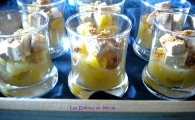 Verrine de foie gras, mangue, rhum et spéculoos