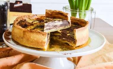 Flan pâtissier marbré, vanille et chocolat