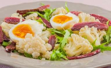 Salade de chou fleur au canard fumé