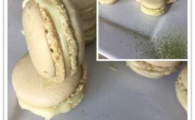 Macarons matcha chocolat blanc amande