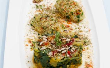 Quinoa au pesto de feuilles de blettes et cardes aux 4 épices.
