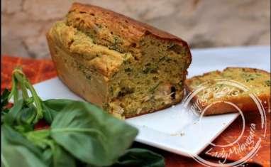 Cake au poulet, curry et chèvre frais