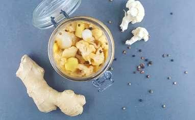 Pickles de chou-fleur au gingembre