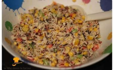Salade de riz sauvage aux petits légumes