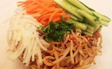 Salade de crudités et soja mariné, vinaigrette citron et gingembre