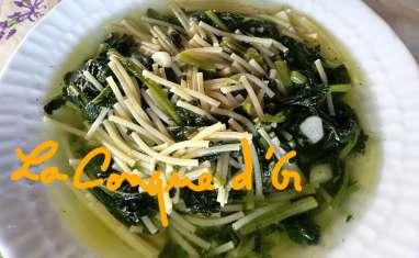 Soupe de petits spaghettis aux cime di rapa