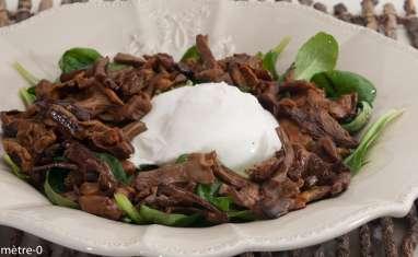 Salade de mâche, girolles et burrata