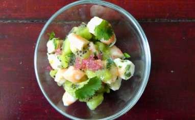 Verrines de crevettes et kiwis
