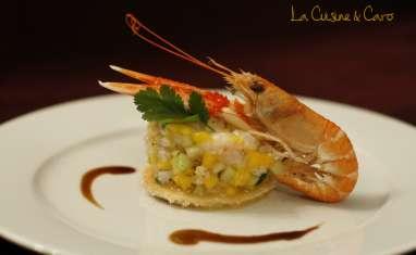 Tartare de Langoustines, Mangue et Papaye vertes, sauce Passion