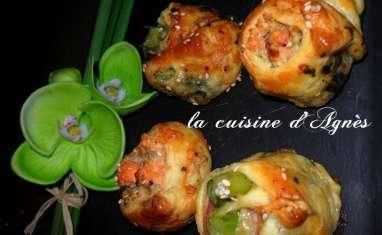 bouchées feuilletées asperges saumon au pistou