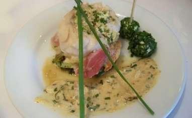 Filets d'églefin au chèvre, ciboulette et pancetta