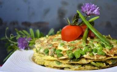 Millefeuille d'omelette aux légumes de printemps