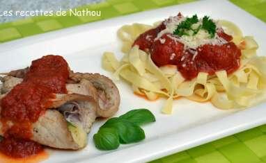 Saltimbocca mozzarella Parme et tagliatelle sauce tomates cerise